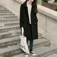 2018呢子黑色大衣女冬季大码优雅中长款韩版宽松毛呢外套