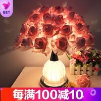 水晶台灯创意婚庆婚房装饰卧室床头灯台灯欧式温馨玫瑰花结婚礼物