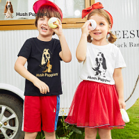 【抢购价:47元】暇步士童装男童短袖T恤夏季新款儿童圆领衫女童棉小童半袖