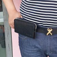 男士手机腰包真皮横款穿皮带手机包牛皮长款拉链男手拿包新款