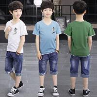 男童夏季新款套装中大童韩版儿童牛仔休闲运动短袖体恤两件套