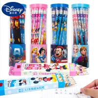 迪士尼铅笔儿童30支无毒HB文具用品圆角娇字考试可爱卡通2比小学生写字铅笔带橡皮头幼儿园学习工具批发套装