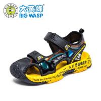【1件5折�r:104元】大�S蜂童鞋 男童�鲂�中小童透�廛�底鞋子2020夏季新款�W生沙�┬�