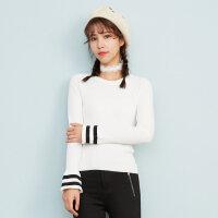 【1件3折到手价:44.97】美特斯邦威毛衣女喇叭袖春装新款百搭韩版毛衫针织衫甜美潮X