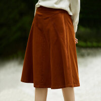 [AMII东方极简] JII[东方极简]2017秋装新款简洁百搭几何拼接A字型纯棉质半身裙