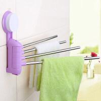 易时代免打孔毛巾架卫生间吸壁式折叠毛巾杆厨房抹布架吸盘置物架 紫色