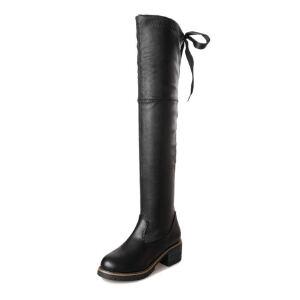 WARORWAR新品YM88-801冬季韩版粗跟高跟女士靴子弹力过膝靴长靴
