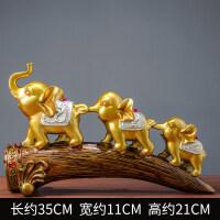 大象客厅酒柜电视柜摆件创意家居玄关装饰品三只小象摆设 金色三连象