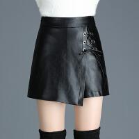 皮裤裙女秋新款韩版不规则包臀PU皮裙裤大码显瘦阔腿皮裤子靴裤潮