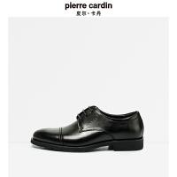 皮尔卡丹秋季新款潮男鞋三接头商务正装德比鞋系带英伦男士真皮鞋