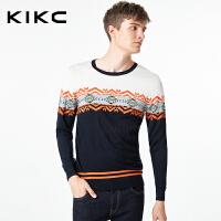 kikc男装秋季新款韩版日系复古花纹长袖毛衣男潮流休闲针织衫