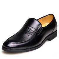 格罗堡春季新款正装皮鞋新款男士商务休闲鞋男款套脚鞋英伦休闲皮鞋P7283