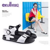 依思q夏季新款时尚扣带一字带休闲凉鞋舒适低跟女鞋