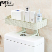 门扉 厕所置物架 免打孔浴室置物架壁挂卫生间用品吸壁式厕所马桶塑料收纳架