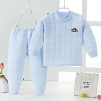 宝宝保暖衣套装秋冬儿童男女内衣睡衣加厚0-3岁1婴儿三层夹棉