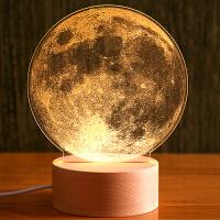 创意月球夜灯3d月亮灯蒲公英床头灯装饰台灯人气情人节圣诞节礼物 月球 可充电底座遥控开关