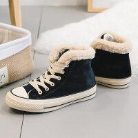 加绒高帮帆布鞋女冬季棉鞋2018新款学生韩版百搭原宿女鞋