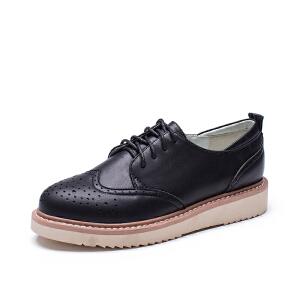 如熙2017秋季新款单鞋牛津鞋平底鞋英伦风女鞋布洛克休闲鞋鞋子