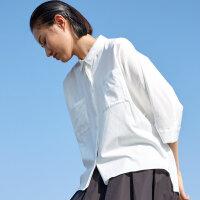 【2件2.5折叠券约:92,12日0点】CHIN祺白色衬衫女短袖夏宽松百搭翻领上衣女网红OL风衬衣文艺女神