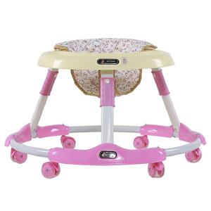【当当自营】炫梦奇婴儿学步车 坐垫可调节 可折叠 PU静音轮 可爱粉