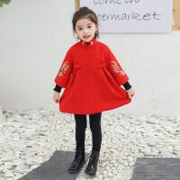 儿童过年衣服女童唐装3拜年宝宝洋气礼服5中国风新年7冬季汉服8岁 红色