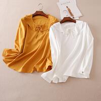 韩版优雅有型荷叶边 秋季新款衬衫袖女士套头衬衫 A616