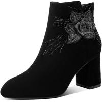 2018新款时尚绣花粗跟靴子女高跟短靴女冬秋真皮踝靴大码女靴4142软底 黑色(绒里)