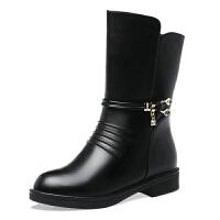 靴子女中筒靴冬季二棉鞋2018新款加绒保暖中年女靴真皮妈妈鞋粗跟 黑色 819