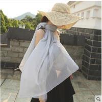纯色清凉韩版长款围巾披肩两用纱巾防晒沙滩披肩防紫外线海边度假丝巾