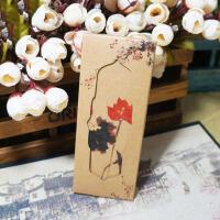 【双十一大促!1件3折】萌味 书签 中国风复古套装牛皮纸小礼品学生古风唯美纸质书签之荷影创意礼品生日礼物(8张/套)