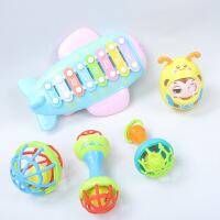 ?儿童宝宝手敲琴敲击打音乐玩具打音板15个月叮当小钟琴幼儿园乐器 飞机音乐敲琴+不倒翁+软胶球3件