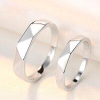 男戒子个性刻字情人节礼情侣戒指活口一对925银对戒女简约