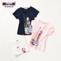 【3件2折:21.8】铅笔俱乐部童装2020夏装新款女童套头T恤中大童短袖T恤儿童上衣