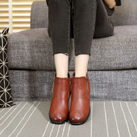 冬季妈妈鞋加绒保暖中老年奶奶防滑平底软底中年女鞋短靴老人棉鞋SN2541 黄色 (标准尺码)