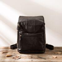 复古皮双肩包男士旅行背包休闲头层手工电脑包学院风 黑色 头层牛皮