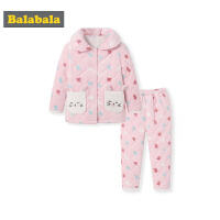 巴拉巴拉女童家居服秋冬新品加厚保暖儿童睡衣套装女小童卡通加绒