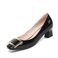 WARORWAR法国 2019新品YGN020-H11春季韩版漆皮粗跟高跟女鞋潮流时尚潮鞋百搭潮牌单鞋女