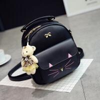 儿童背包旅行双肩包小学生可爱女孩公主中大童女童韩版潮休闲书包 小猫款黑色 送小熊