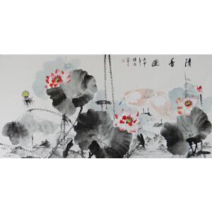 现代画家  杨丽  精品水墨荷花  清香图