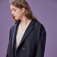 美特斯邦威羊毛呢大衣女冬装文艺茧型短外套简约时尚韩版chic西装