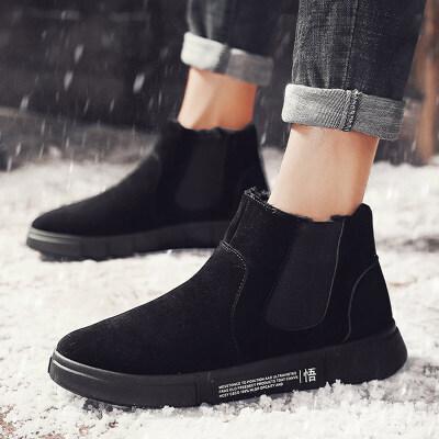 雪地靴男士冬季加绒保暖棉鞋韩版加绒保暖高帮鞋百搭马丁短靴男靴