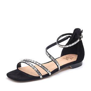 Tata/他她2018夏专柜同款羊皮革绒面通勤方跟女凉鞋FPC01BL8