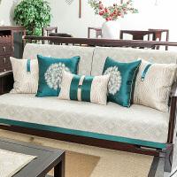 新中式红木沙发垫实木家具坐垫四季通用全包盖现代防滑布艺巾轻奢