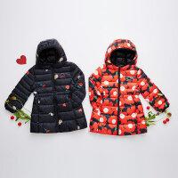 美特斯邦威旗下Moomoo童装女童长款轻薄羽绒服中大童冬季新品印花外套