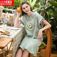 红豆居家女士睡衣春夏纯棉卡通印花V领短袖裙084 浅绿