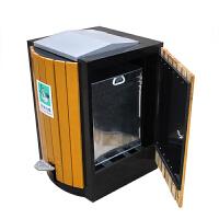 0721011552270钢木垃圾桶液压杆脚踏式带内筒60L户外垃圾桶大号果皮箱