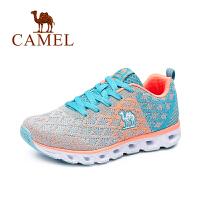 【每满200减100】Camel/骆驼女鞋春夏新款 时尚撞色运动鞋女跑步鞋子系带飞织平底网面鞋