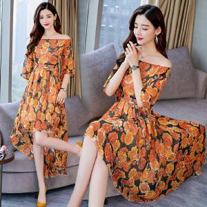 一字领连衣裙女中长款2018夏季新款韩版修身显瘦短袖前短后长女装