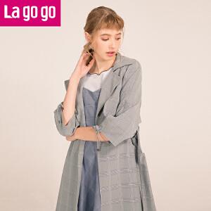 Lagogo2018春夏季新款开衩中长款插肩袖风衣女约克薄款少女长外套HAFF243C39