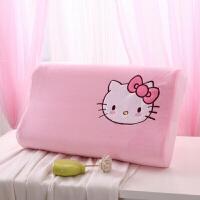 (新款)泰国乳胶枕头卡通猫枕套儿童枕芯可爱宝宝2-16岁护颈椎枕! 粉红色 乳胶枕
